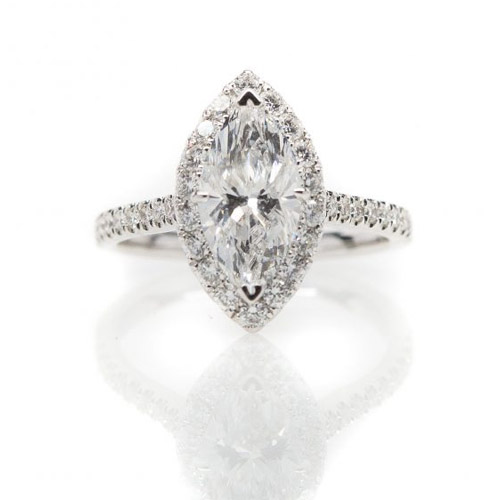14kt white gold marquise diamond engagement ring
