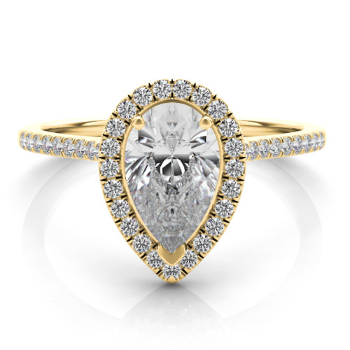 14KT YELLOW GOLD PEAR SHAPE HALO DI...