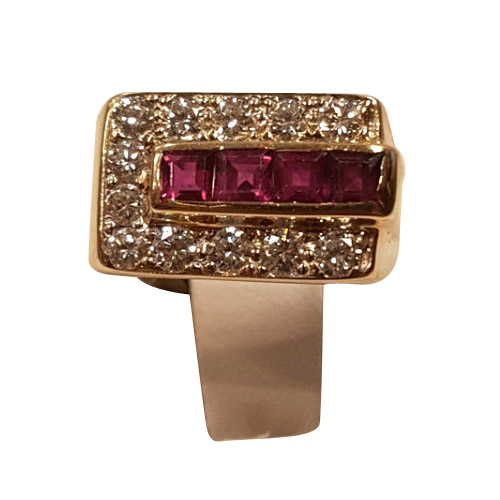 14 kt gold ruby and diamond rectangle ring