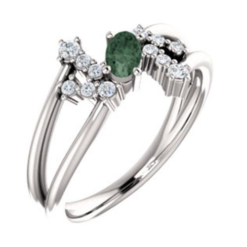 14k white chatham® created alexandrite & 1/8 ctw diamond bypass ring