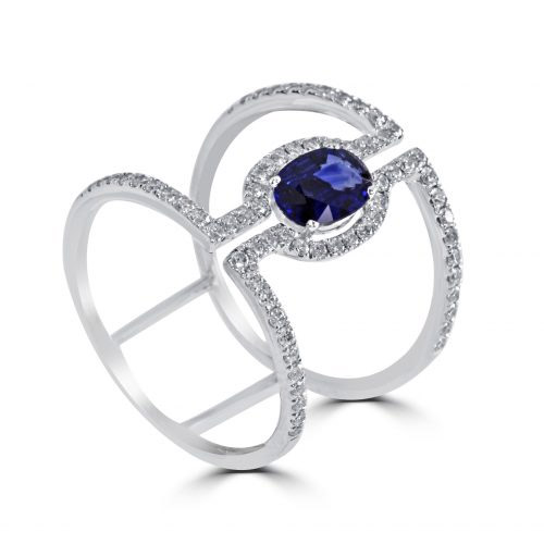 18kt white gold oval sapphire halo engagement ring – 22261