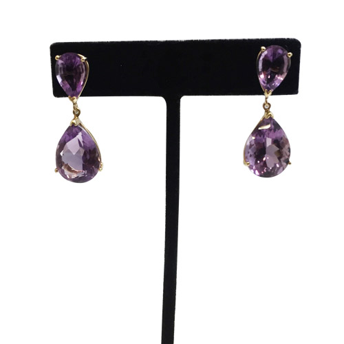 14k yellow gold pear shaped amethyst dangle earrings