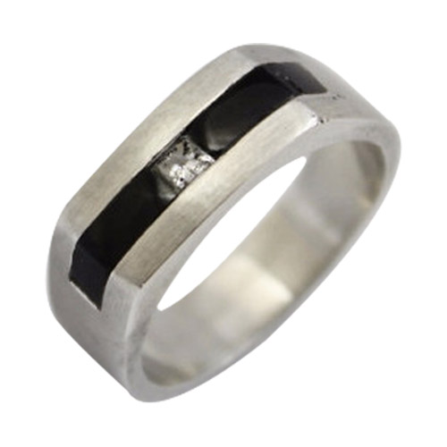 men's platinum onyx and diamond band ring