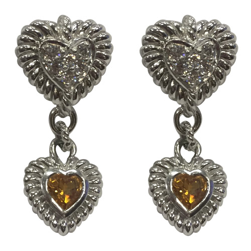 62131bb65 Judith Ripka Citrine Dangle Heart E..