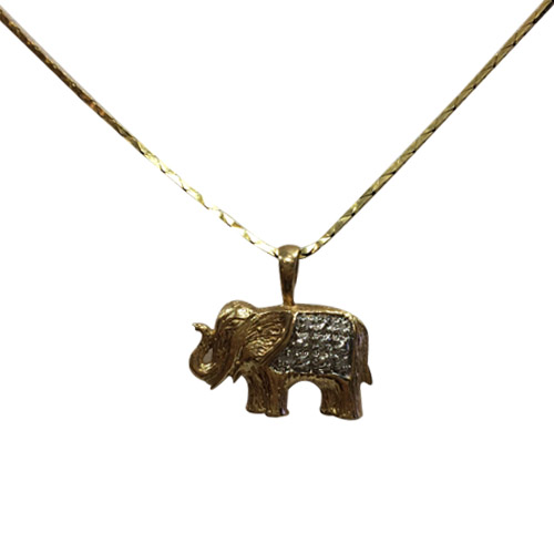 golden elephant necklace with diamonds