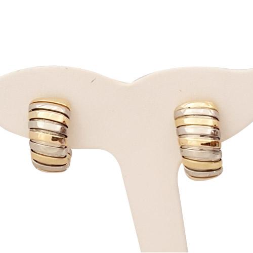 bvlgari two tone tubogas earrings