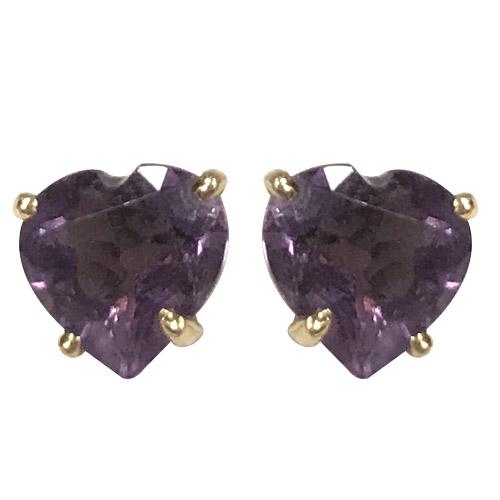 14kt heart-shaped amethyst earrings