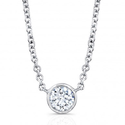 round brilliant bezel set diamond necklace
