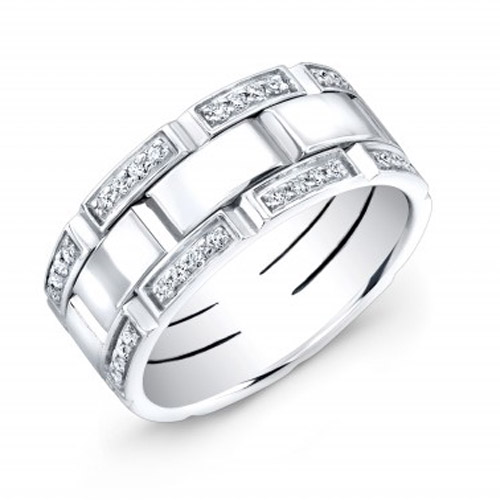 men's pave' diamond band