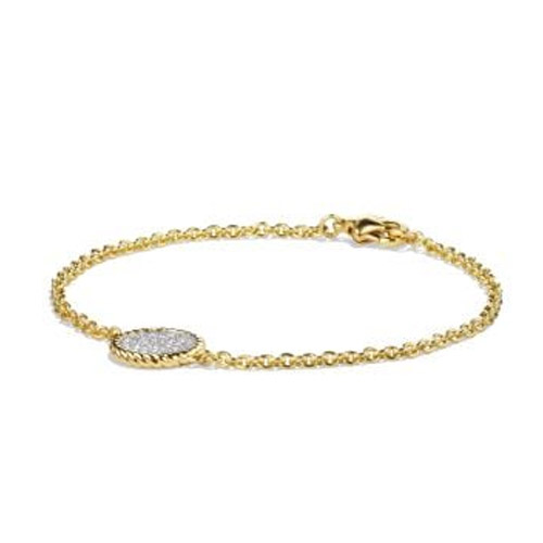 cable collectibles pavé bracelet with diamonds in 18k gold