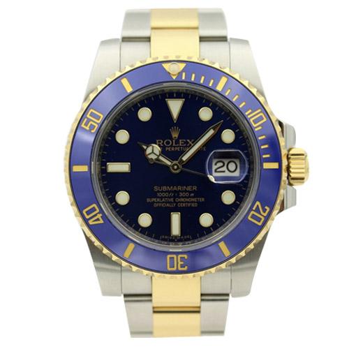 rolex ref 116613lb submariner blue dial two tone men's watch