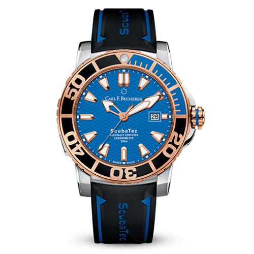 carl bucherer patravi scubatec 18k rose gold – blue dial