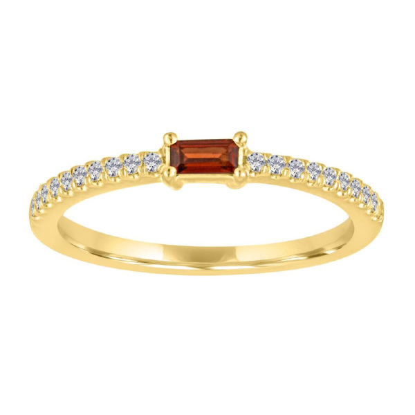 my story julia 14k yellow gold, garnet & diamond january baguette band