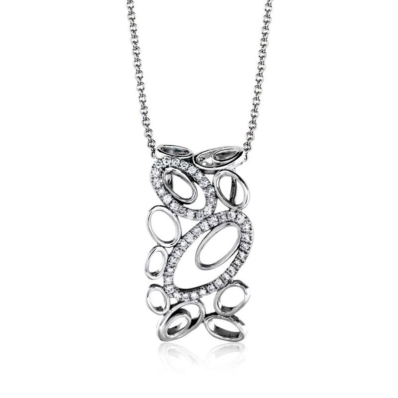 18k white gold pendant .21d