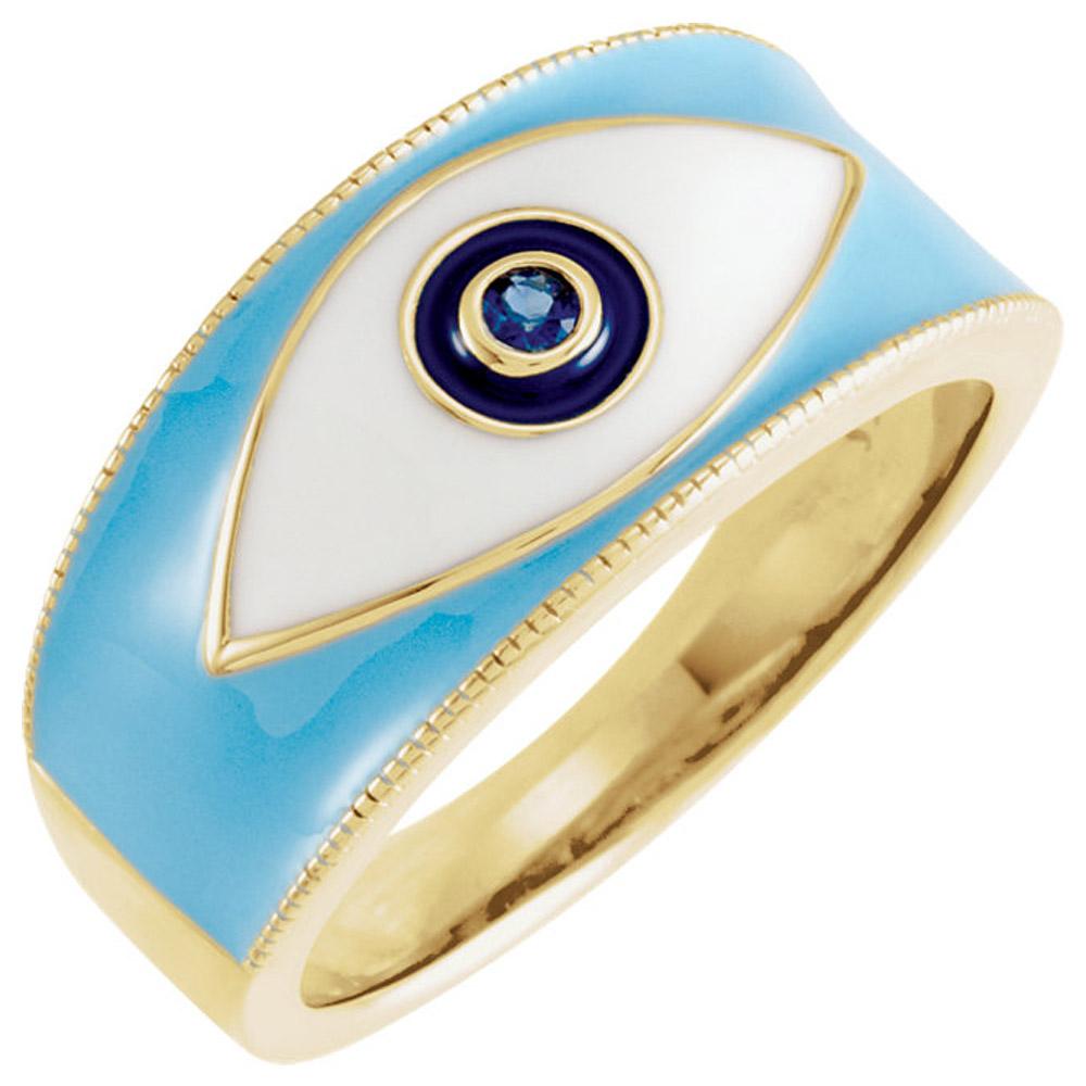 14K Yellow Blue Sapphire Evil Eye R...